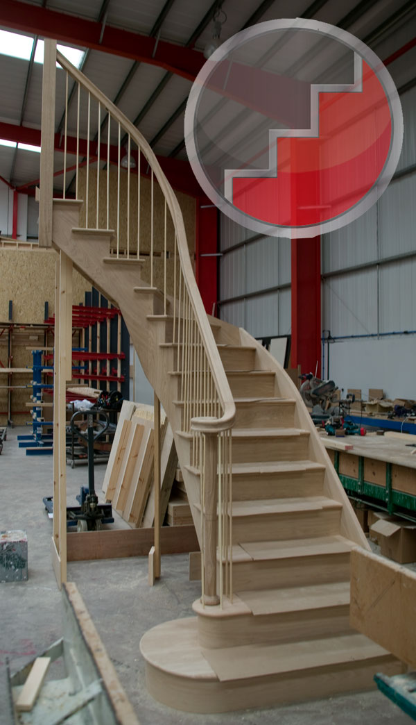 Curved Cut string oak staircase