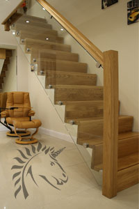 z-vision oak and glass staircase modern design