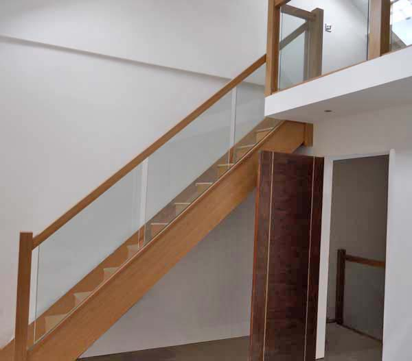 Oak Staircase with Glass Balustrade