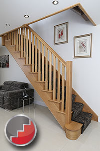 Oak cut string staircases stop chamfered balusters