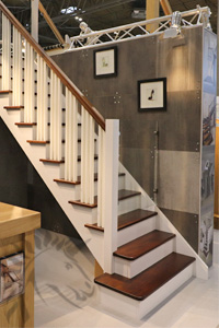 New York Walnut And White Cut String Staircase