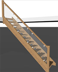 Oak openplan staircase with glass balustrade specification