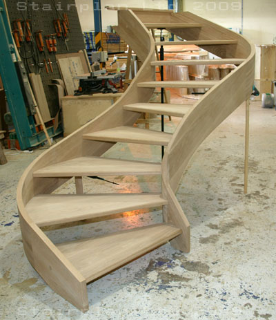 Curved oak staircases