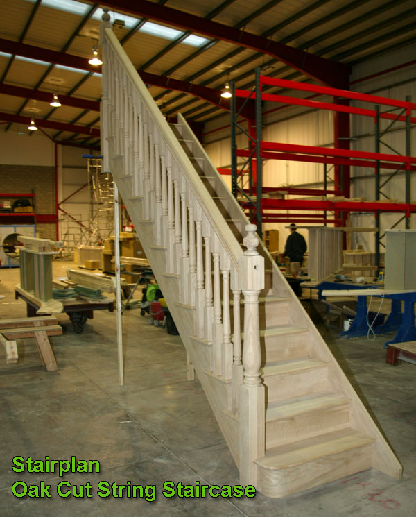 Oak Straight staircase with cut string detail