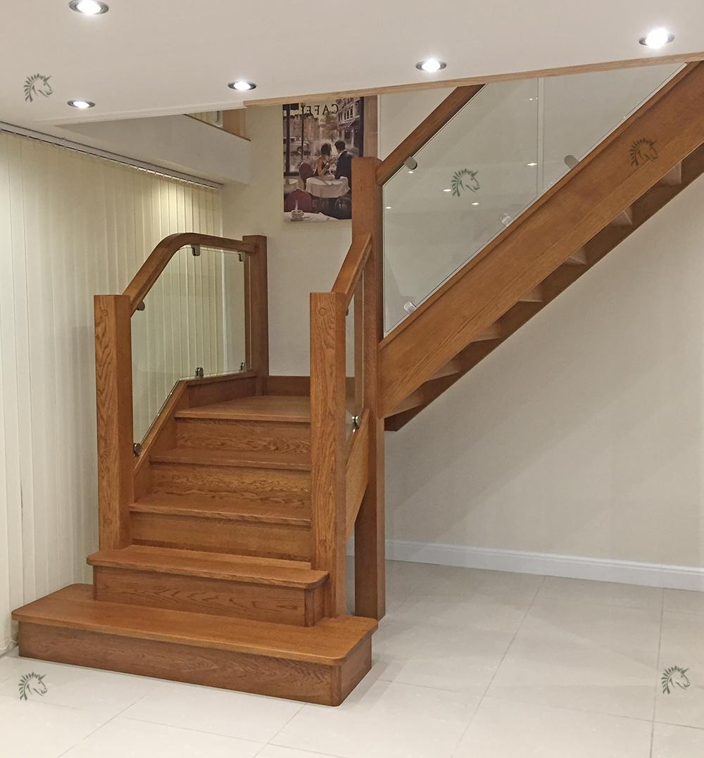 Preston Oak Staircase Recessed Glass Balustrade Infill