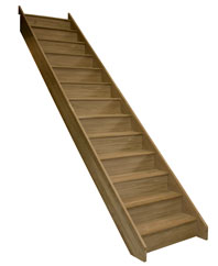 Oak straight staircases closed risers