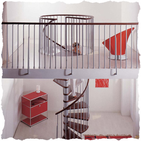 Klan spiral staircase with landing balustrade