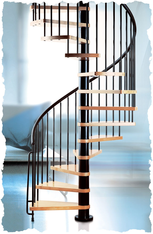 Klan Spiral Staircase Black with Natural wood Treads