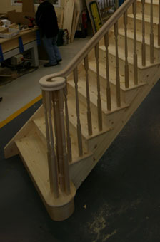 Pine cut string staircase