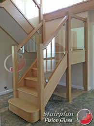 Oak staircase with Toughened glass banister panels