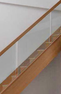 Vision Glass Stair Panels Recessed Oak handrails