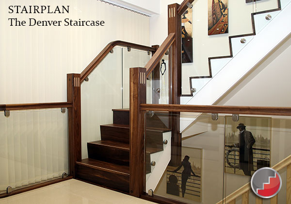The Denver Staircase black walnute treads and banister rails