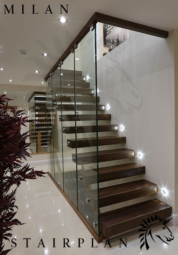 The Milan Staircase With Black Walnut Stair Treads