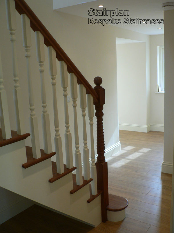 Bespoke Cut String Staircase White With Hardwood Treads