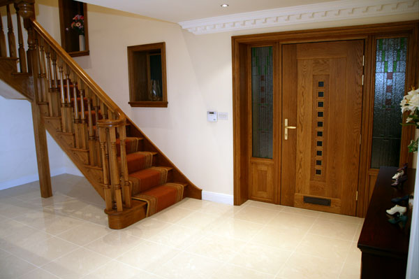 American white oak staircase and entrance door