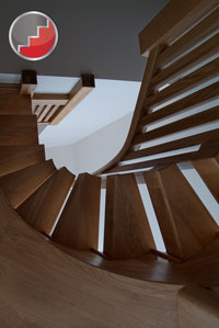 Oak Curved contemporary staircase