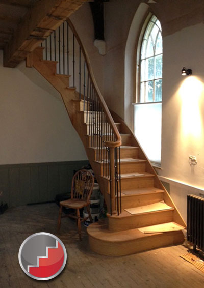Curved oak staircase uk