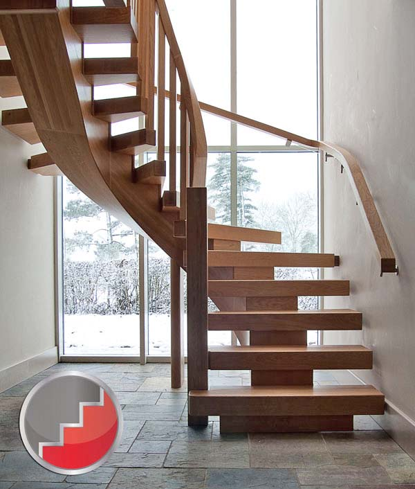 Oak curved staircase contemporary x vision design for Curved staircase design plans