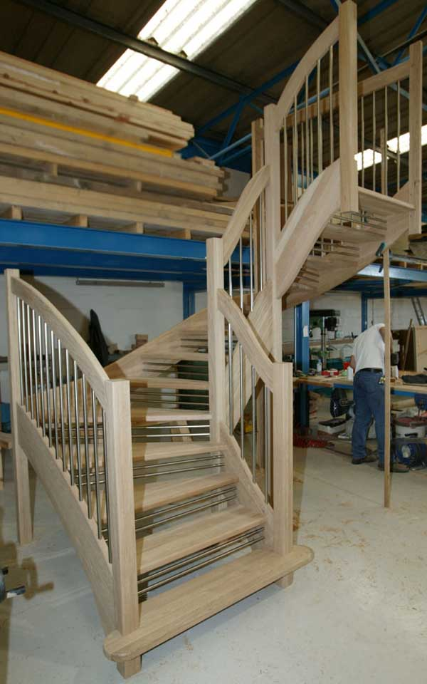 Oak Openplan Staircase European Style Handrail Twin riser Safety Bars