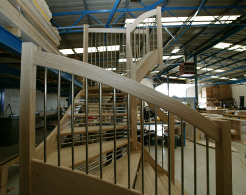 European style Handrail allows us to produce curves in the rail to follow the string line