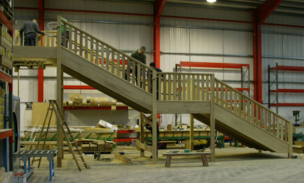 Hardwood exterior staircase in the workshop