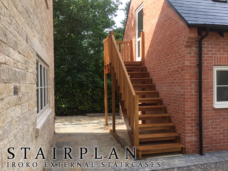 Captivating Outside Staircase In Iroko Hardwood To Garage