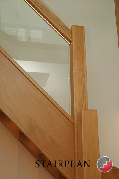 Oak Handrail Grooved For Glass And LED Lighting On The Townsend Oak  Staircase
