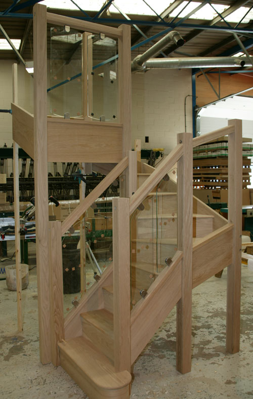 Oak Staircase with S-Vision glass balustrade