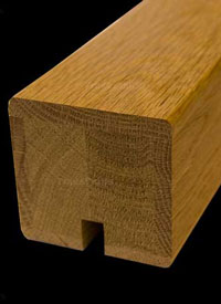 Oak Sqaure handrail grooved for glass balustrade