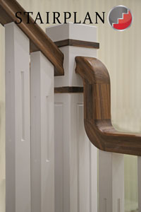 Black Walnut handrail on the New England staircase