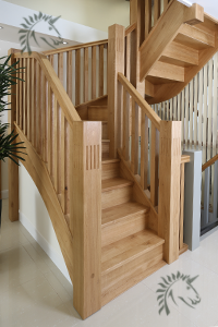 Oak Harleck stair newel posts with square flutes