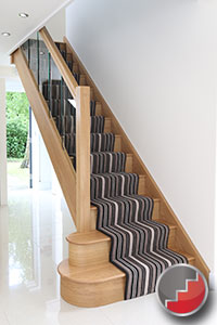 Houston Oak Staircase ideas with glass balustrades