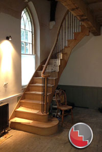 Oak curved stairs bespoke to requirments