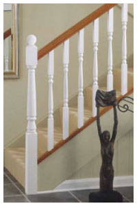 White with a Hardwood Handrail