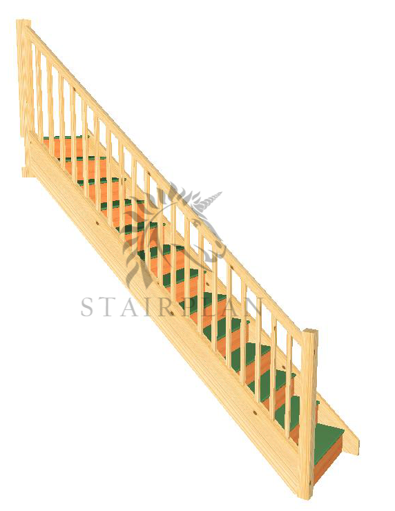 Trade Range Staircase   Stop Chamfered Newels And Balusters Specification  32mm Engineered Pine Strings 22mm MDF ...