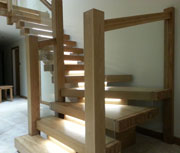 X-Vision open staircase hardwood construction with LED lights