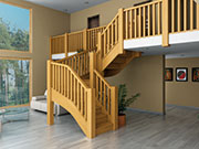 Herlech chunky oak double winding staircase
