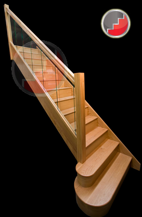 Etonnant Houston Oak Staircase With Glass Balustrade Panels Inline Sections