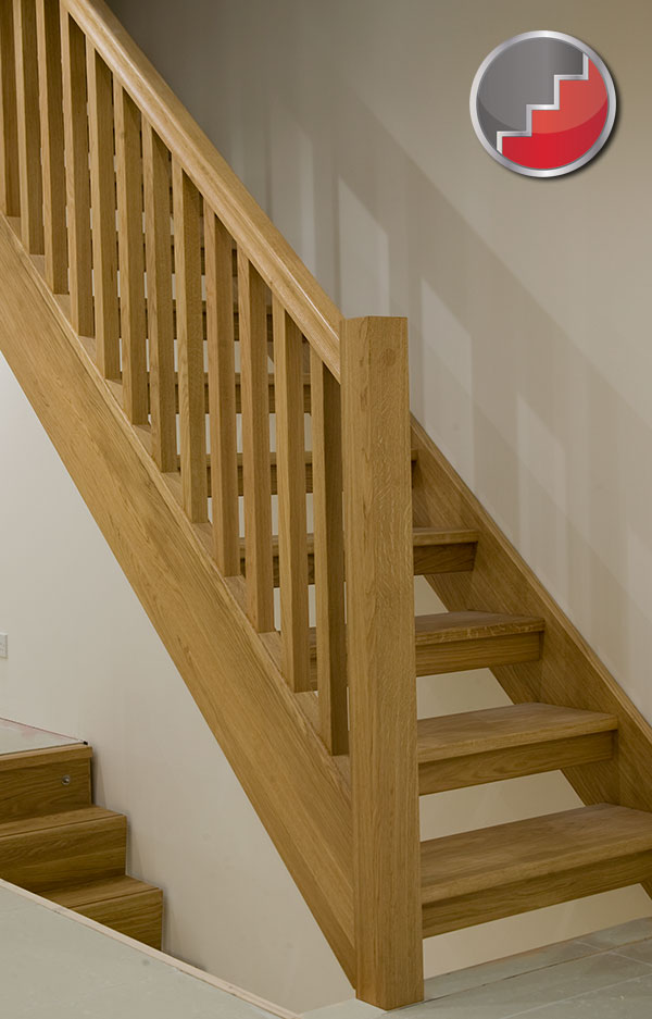 Boston oak staircase oak openplan staircases for Pre built stairs interior