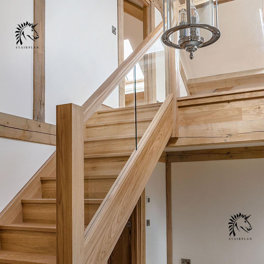 luxury preston oak and glass staircases select oak handrail