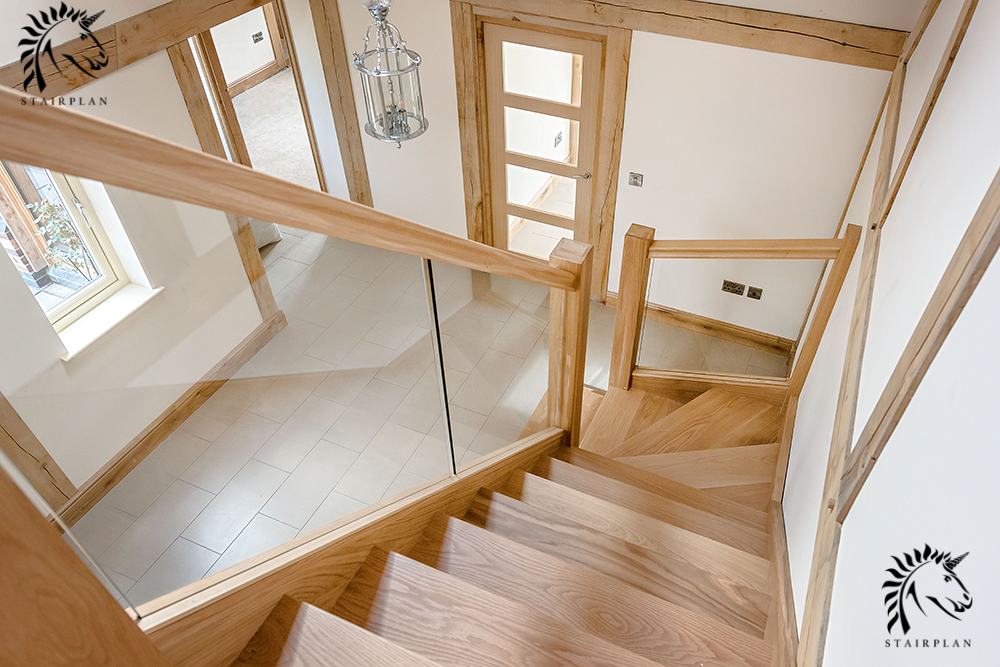 luxury oak staircases with glass panels