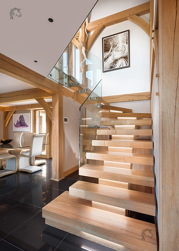 oak staircases with minimalist glass frameless balustrade