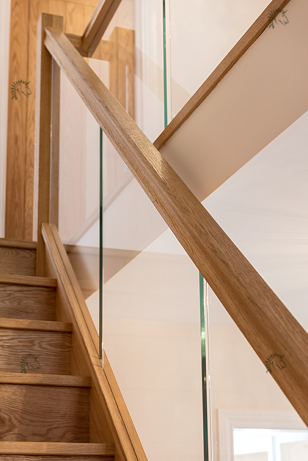 preston oak staircase with recessed glass balustrade
