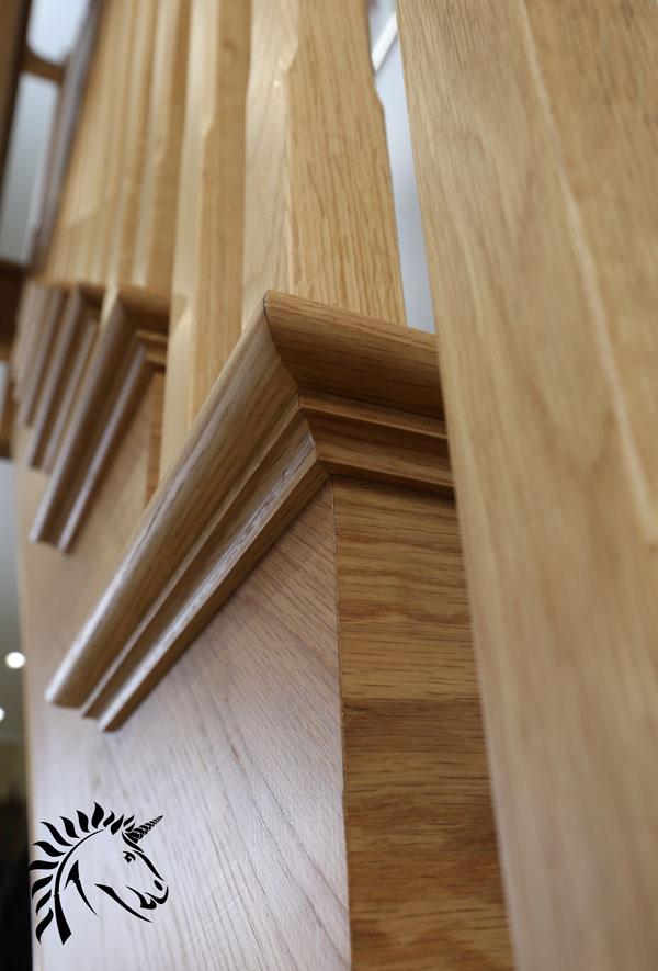 detailed picture showing the cut string on the kensington white oak staircase