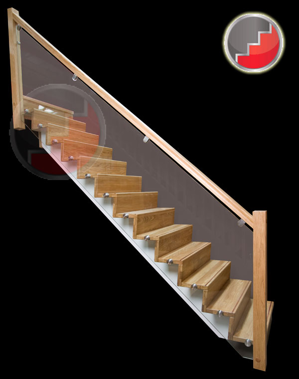 Oak Staircase contemorary Glass Balustrade