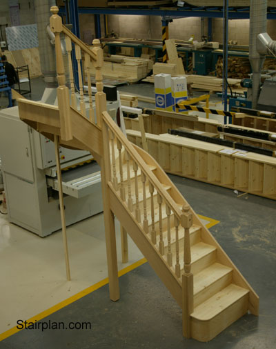Oak winder Staircase closed risers imperial oak stair spindles turned spindles