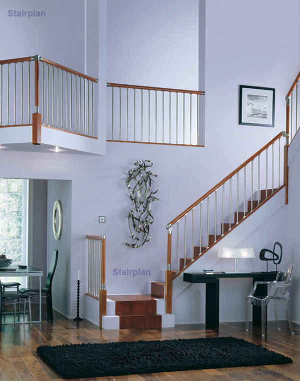 Fusion Staircase Hardwood and Brushed Nickel popular handrail system