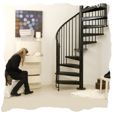Spiral staircases arke spiral stair kit civic spiral for Spiral stair design