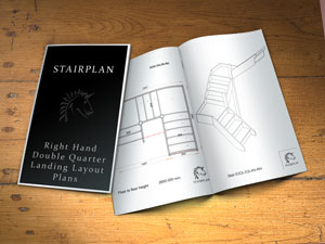Right hand double quarter landing stair layouts