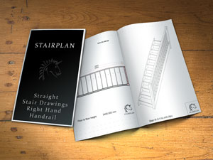 straight stair drawings with right side banister rails